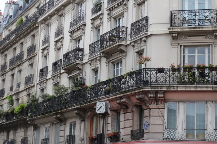 Apartment Architecture Balconies Balcony Building Building Exterior Built Structure City City Life Day Façade Low Angle View No People Outdoors Paris Residential Building Residential Structure