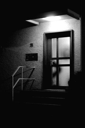 Door Light And Shadow Light Night Dark Stairs House Blackandwhite