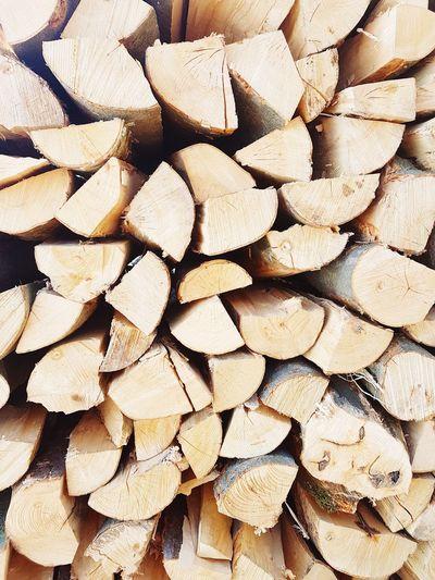 Full frame shot of tree logs in forest