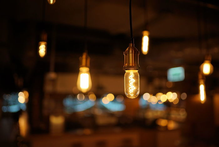 vintage light bulb in the dark. Dark Give Up Loneliness Close-up Electricity  Hanging Illuminated Indoors  Light Bulb Lighting Equipment Night No People Sadness Vintage Lightbulb