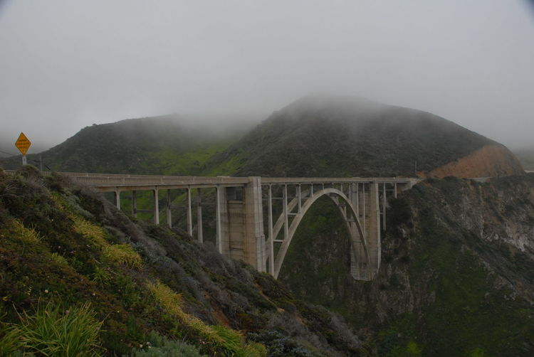 One of my favourite spots, Bixby Bridge, Big Sur, California Big Sur CALIFORNIA Arch Architecture Beauty In Nature Bridge - Man Made Structure Built Structure Connection Day Fog Foggy Mountain Mountain Range Nature No People Outdoors Scenics Sky Transportation Tree Viaduct Water Weather