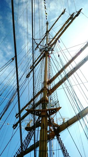 Low Angle View Of Mast Of Tall Ship
