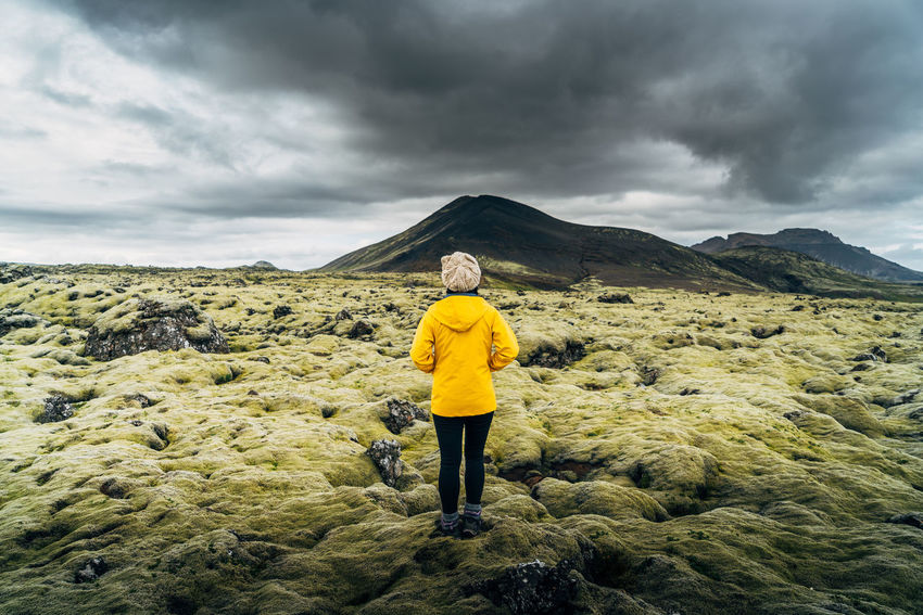 Alone Center Dramatic Iceland Moss Mountain Solitude Travlr Woman Yellow