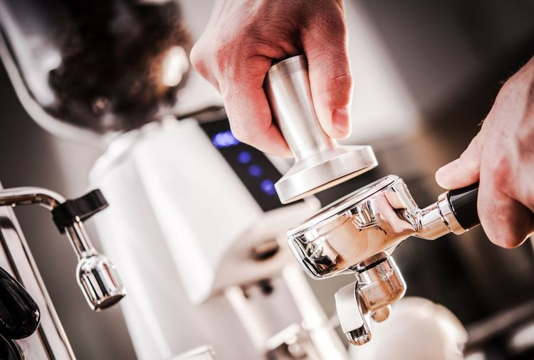 Fresh Espresso Making. Caucasian Hands with Coffee Maker Portafilter and Tamper. Coffee Espresso Adult Appliance Barista Close-up Coffee - Drink Coffee Maker Coffee Shop Cup Drink Finger Food And Drink Hand Human Body Part Human Hand Indoors  Machinery Making Men Occupation One Person Portafilter Preparation  Refreshment Selective Focus