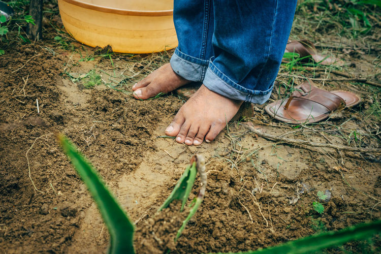 Barefoot Casual Clothing Childhood Children Only Day Dirty India Low Section Messy Outdoors Person Rubber Boot Standing