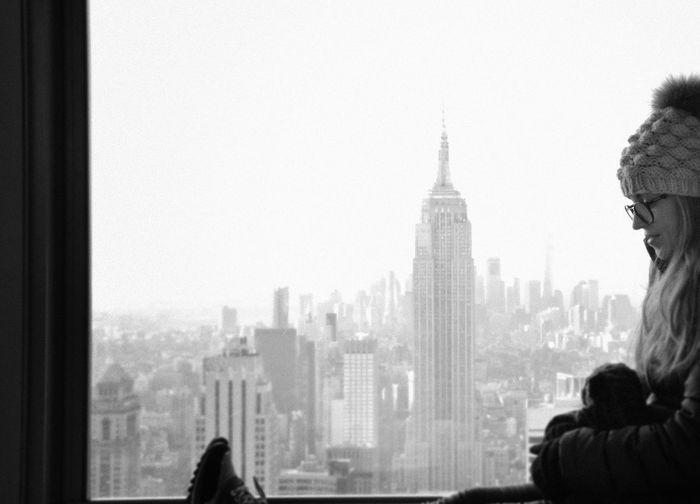 Travel Photography Nikon Tranquility Scenics Amazing View OpenEdit USA New York New York City Blackandwhite Black And White Empire State Building Top Of The Rock Manhattan City Women