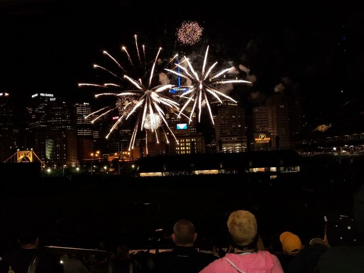 Night Firework Display Celebration Firework - Man Made Object Arts Culture And Entertainment Exploding Illuminated Event Cityscape Long Exposure City Sky Outdoors Urban Skyline Awe Motion Large Group Of People Pennsylvania Pittsburgh PNC Park Pittsburgh Pirates Baseball Stadium Spectator Excitement Multi Colored The Week On EyeEm