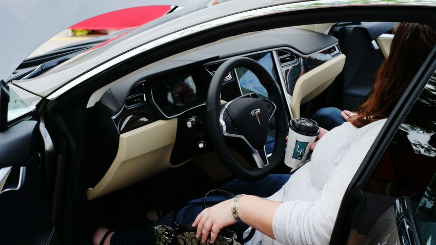 Hey lady, get out of my car! Testing Tesing, 1 2 3 Tesla A Day In The Life Test Drive Electricity  What Do You Think? Automobile Trying Something New