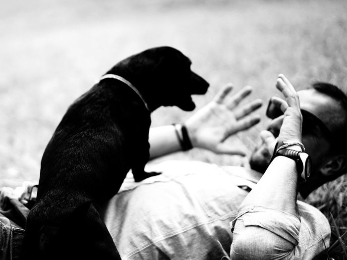 Man lying with dog on field