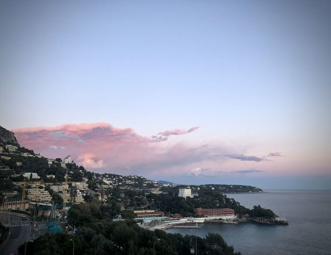 Pretty pink cloud Clouds Sky Pretty In Pink EyeEm Nature Lover EyeEm Gallery EyeEmNewHere Pink Architecture Beauty In Nature Blue Bolonie Bolonie Art Bolonie Style Cap Martin Clear Sky Horizon Over Water Nature Pink Sunset Scenics Sea Sunset Water Winter Sunset