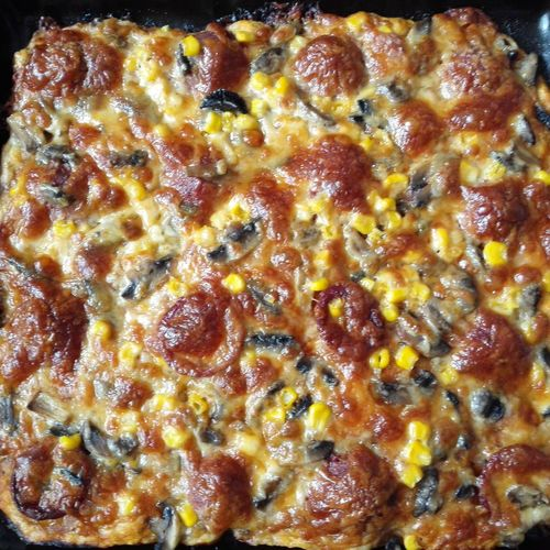 Pizza Time🍕 Pizza Mix Corn Mushroom A Lot Of Cheese Sausage Homemade Pizza Fun