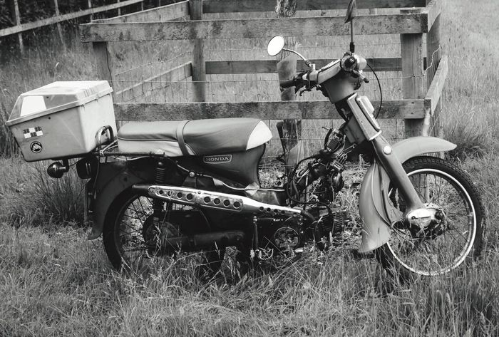 Blackandwhite Honda Moped at Newby Hall