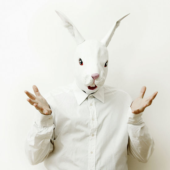 Animal Representation Focus On Foreground Front View Funny Funny Faces Holding Individuality Indoors  Innocence Mask Masked One Person Rabbit Rabbit Man Studio Shot
