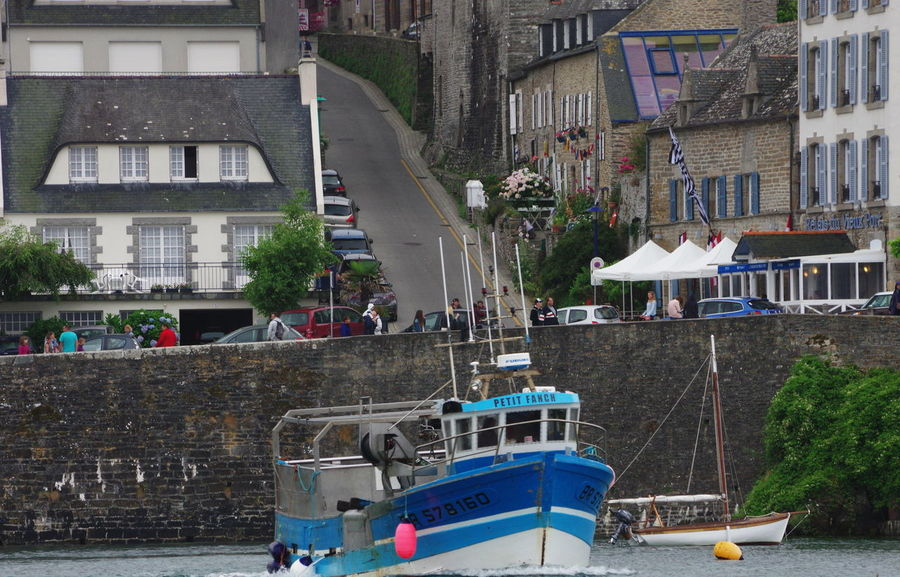 Brittany Harbour View Fischingboat Nautical Vessel No People Old Buildings Street Town Water