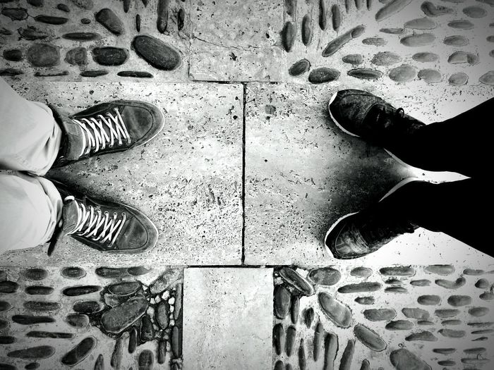 Couple Shoe Personal Perspective Close-up Outdoors Street Floor Sneakers Two Of A Kind Standing People Stone