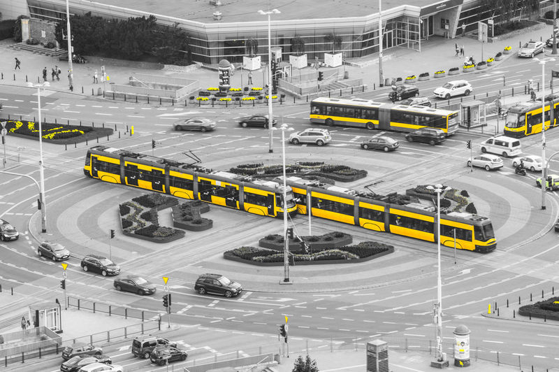 Paint The Town Yellow Road High Angle View Transportation Yellowtram Yellow Tram Cars Warsaw Warsaw Poland Poland Visitpoland Igerspoland Ig_poland Igerswarsaw Igerseuropa Igerseurope Ig_europe Ig_europa Postcode Postcards