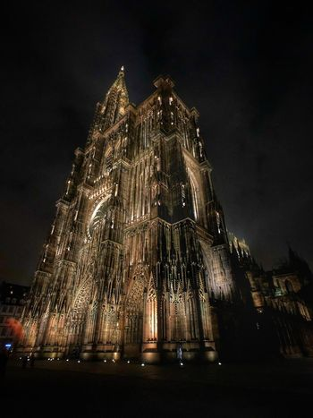 Mommy Strasbourg at night France Momentwide Shotonmoment Momentlens Night Strasbourg Cathedral Night Architecture Illuminated Built Structure Low Angle View Building Exterior Place Of Worship EyeEmNewHere