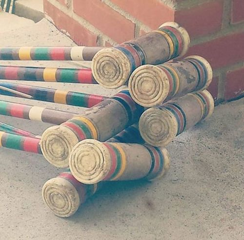 Close-up Croquet Fun Multi Colored Pattern Recreation  Sports Stack