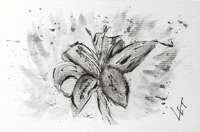 Killing time Watercolor Painting Lilly Flower Blackandwhite Art