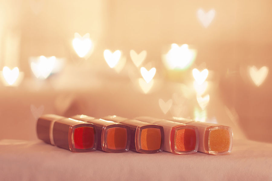 Lipsticks Nuances Bokeh Hearts Soft Colors  Pastels