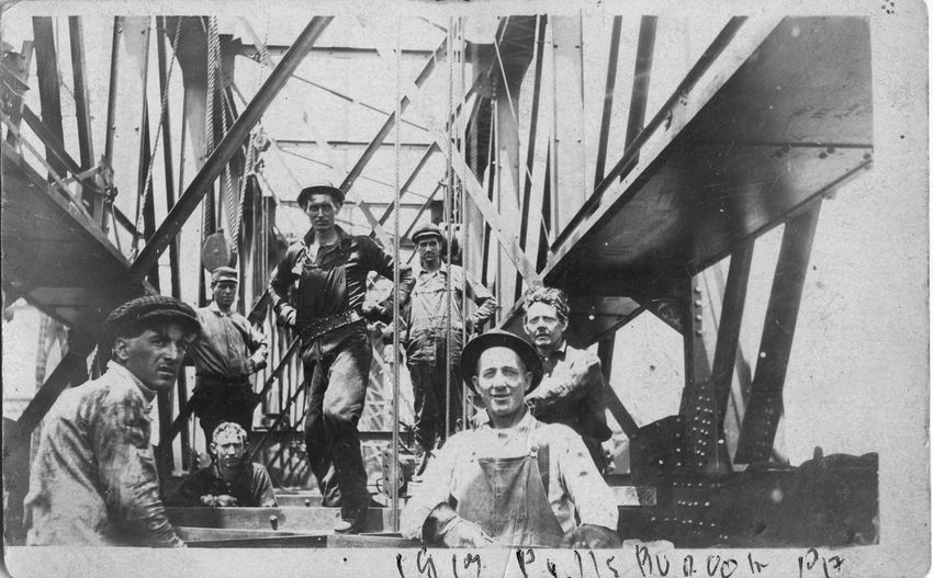 Grandads crew of Ironworkers building a rail bridge in 1913. Construction Early 20th Century Ironworkers Railway Bridge