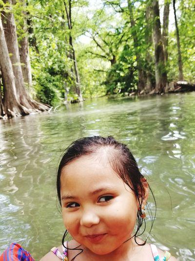 Water Swimming Tree Child Portrait Smiling Childhood Happiness Cheerful Headshot