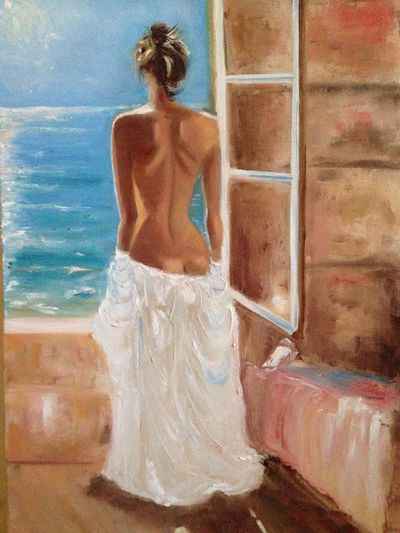 Oil Painting Girl Window Sea Oiloncanvas Sunny Day