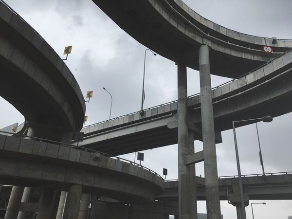 Line Built Structure Architecture Sky Bridge Low Angle View Connection Bridge - Man Made Structure Building Exterior Engineering Transportation Nature Architectural Column Cloud - Sky Travel Travel Destinations Tourism Incidental People Day Outdoors Water EyeEmNewHere