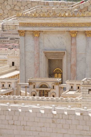 Model of the Jewish temple Jerusalem Israel Holy Land Temple Golden Architecture Built Structure Building Building Exterior The Past History Architectural Column Belief No People Religion Place Of Worship Art And Craft Day Spirituality Craft Travel Destinations Marble Arch Outdoors Ornate Model Jewish