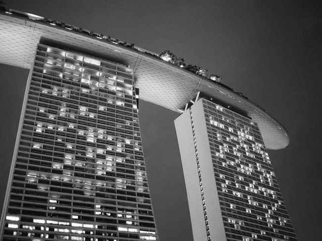 MBS Architecture Balck And White Building Building Exterior Built Structure City Low Angle View Marina Bay Sands Modern Singapore Skyscraper Tourism