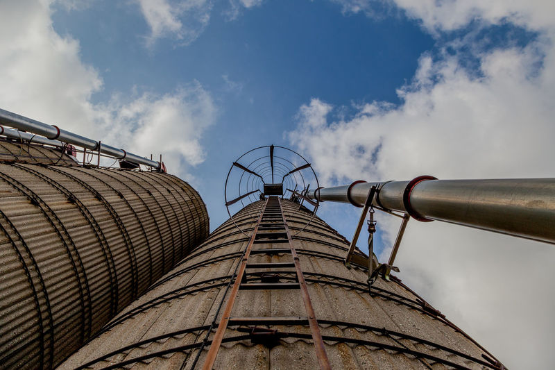 Be Brave Architecture Building Exterior Built Structure Cloud - Sky Connection Day Directly Below Factory Fuel And Power Generation Industrial Equipment Industry Ladder Low Angle View Metal Nature No People Outdoors Pipe - Tube Rusty Sky Smoke Stack Tall - High
