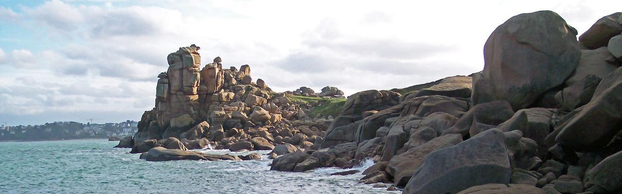 Gray Granite Grey Granite Coastal Panorama Cote D Emeraude Shoreline Rock Formation Granite Pink Granite Coast Landscape Manche Sea Robust In Manche Ille-Et-Villaine Normandie Ille Et Vilaine France Panoramic Shoot