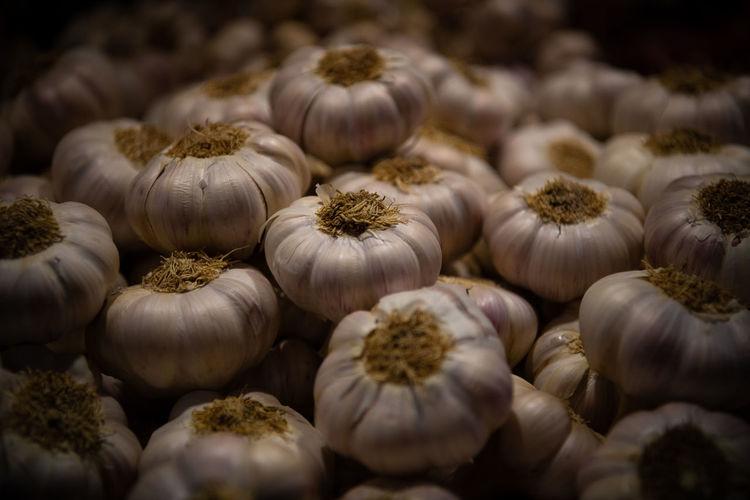 Full frame shot of garlic in market for sale