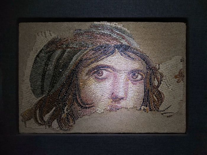 Gaziantep Turkey Mosaic Gypsy Girl Ancient Roman Pixelated Portrait Human Face Close-up ArtWork