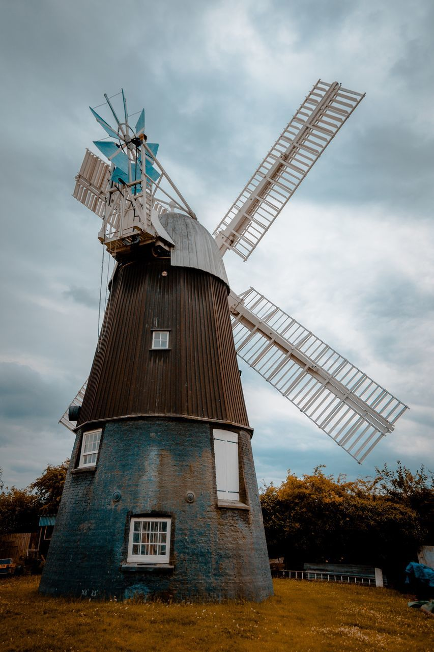 windmill, alternative energy, wind power, wind turbine, renewable energy, traditional windmill, environmental conservation, fuel and power generation, architecture, cloud - sky, built structure, sky, no people, industrial windmill, building exterior, field, outdoors, day, low angle view, rural scene, nature