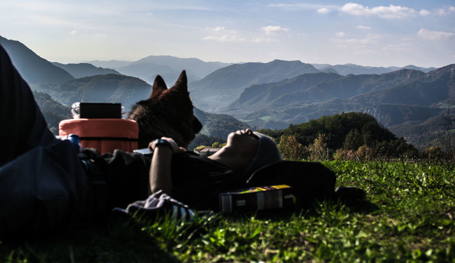 vibess Individuality Mountain Nature Landscape Mountain Range Adventure Awe Vacations Travel Destinations Sunset Beauty In Nature Camping Cloud - Sky Sky One Person People Outdoors Adult Adults Only Day Vibes Vintage Vibrant Color Dog Dogs First Eyeem Photo