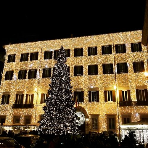 Low Angle View Night Illuminated Christmas Lights Tradition Architecture No People Sky Christmas Tree Outdoors
