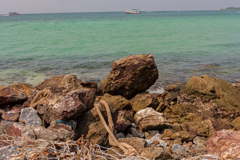 Part of the beach in Koh Larn ASIA Thailand Beach Beauty In Nature Day Horizon Over Water Island Koh Larn Nature No People Outdoors Rock - Object Scenics Sea Sky Tranquil Scene Tranquility Water