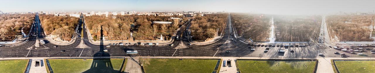 Panoramic Shot Of Roads In City Against Sky