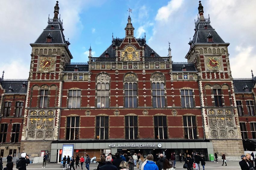 Amsterdam trainstation Building Exterior Architecture Built Structure Large Group Of People Crowd Group Of People Real People Sky Building Men Tourism