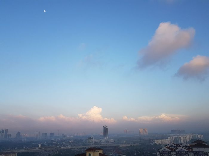 Pastel foggy morning with moon still in sight City Skyscraper Sunset Sky Cityscape Urban Skyline People Travel Destinations Outdoors Cloud - Sky Business Finance And Industry Modern Fog Landscape Architecture Cityscape Johor Bahru Malaysia