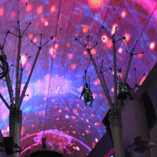 Freemont Street Experience Zipline Adventure Zipline Illuminated Multi Colored Pink Color Sky Architecture Building Exterior Built Structure