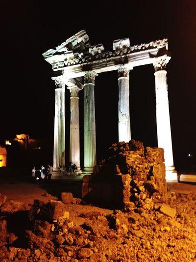Pillars Apollo Pillar History Old Ruin Architectural Column Night Built Structure Archaeology Ancient