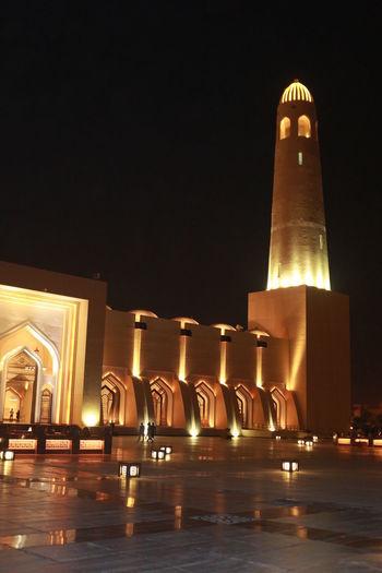 Architecture Doha,Qatar Abd Alwahab Built Structure History Illuminated Masjid Mosque Night No People Religion Travel Destinations