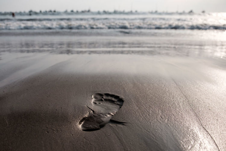 Beach Beautiful Beauty In Nature Carefree Close-up Concept Conceptual Day Environment FootPrint Freedom Future Horizon Over Water Imprint Nature Nature No People Ocean Outdoors Sand Summer Tranquility Travel Vacations Water