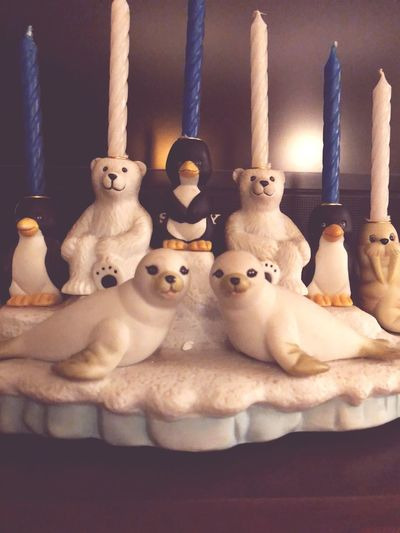 Polar Climate Animal Representation Walrus Ice Snowscape Seals Penguins Polar Bear Animals Jewish Holiday Festival Of Lights Candle Holder Candles Chanukkah Chanukah Hannukah Menorah EyeEm Selects Art And Craft No People Male Likeness Indoors  Sculpture Figurine  EyeEm Ready