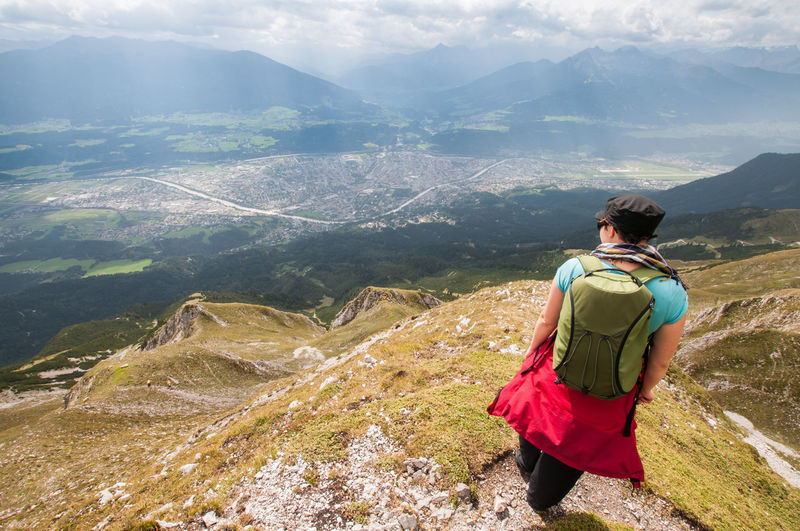 Divine Light  Adventure Backpack Beauty In Nature Day Hiking Landscape Leisure Activity Mountain Mountain Range Nature One Person Outdoors People Real People Rear View Scenics Sky Standing Women EyeEmNewHere