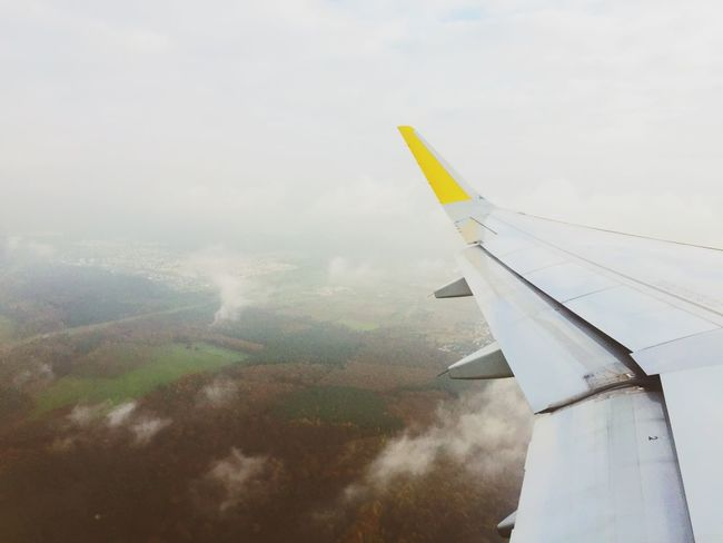 Leaving grey Germany for a few sunny days in Barcelona Airplane Flying Plane TakeOff Airborne Wings Cloudy Traveling From An Airplane Window Up In The Air