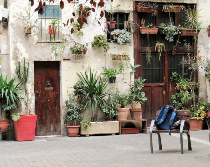 Barcelona Architecture Art Is Everywhere The Secret Spaces Chair Potted Plant Outdoors Architecture Building Exterior Sitting Seat Travel Destinations Travelling Travelphotography Canon Powershot SX200 IS Canon Powershot The Street Photographer - 2017 EyeEm Awards Your Ticket To Europe