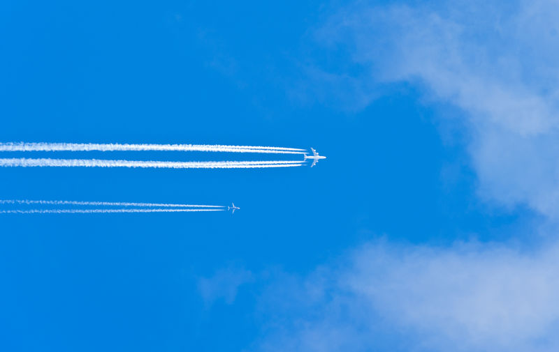 Air Traffic Traffic Aerospace Industry Air Vehicle Airplane Airspace Blue Cloud - Sky Clouds And Sky Commercial Airplane Flying Height Jet Leaving Mid-air Mode Of Transportation Motion Nature on the move Outdoors Plane Sky Speed Transportation Travel Vapor Trail